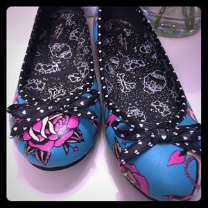Awesome NWOT Iron Fist Ballet Flats Rose Designs